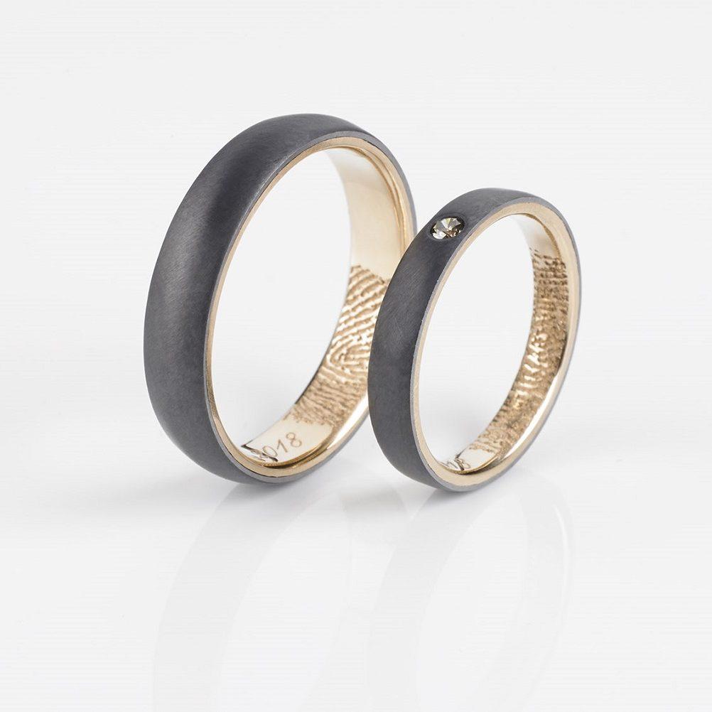 Hochzeitsringe aus Tantal | Tantal Ringpaar True Love Collection No:25