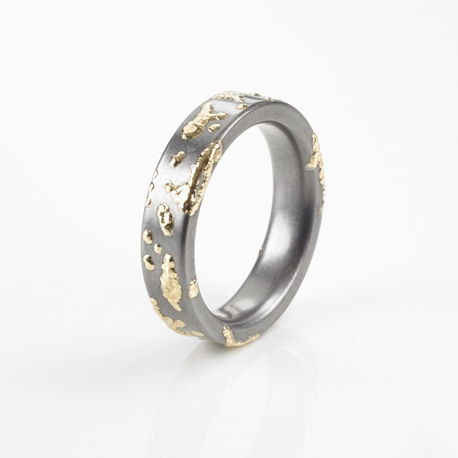 "Tantal Unisex Ring Heavy Metal Collection No.02 ""GoldSplash"""