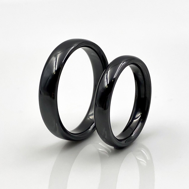 Schwarze Ringe aus Tantal | Ringpaar True Love Collection No:38