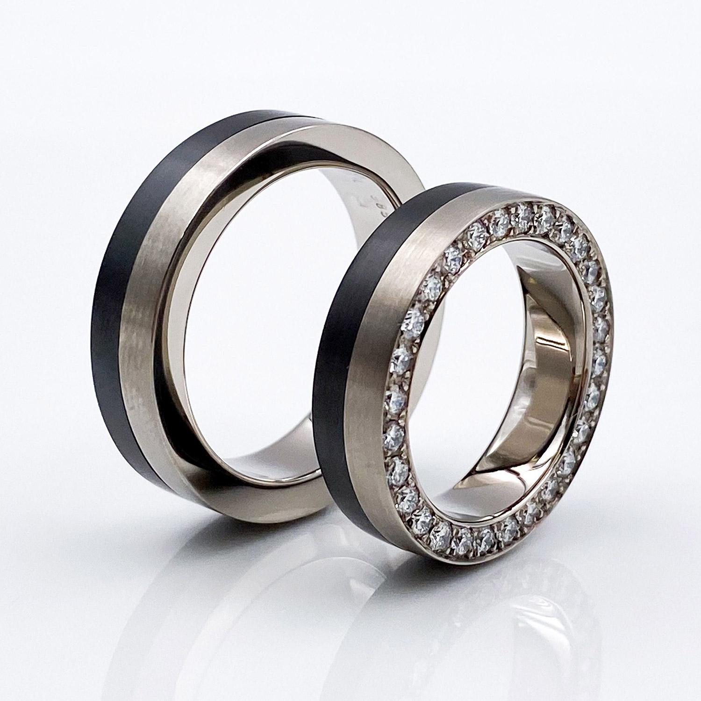 Tantal Ehering Ringpaar Brillantring True Love Collection No:43