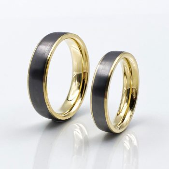 Tantal Ringpaar gelbgold hell strichmatt True Love Collection no50