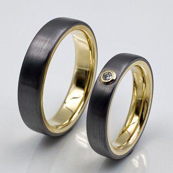 Tantal Ringpaar hell strichmatt Gelbgoldfassung true love collection no49