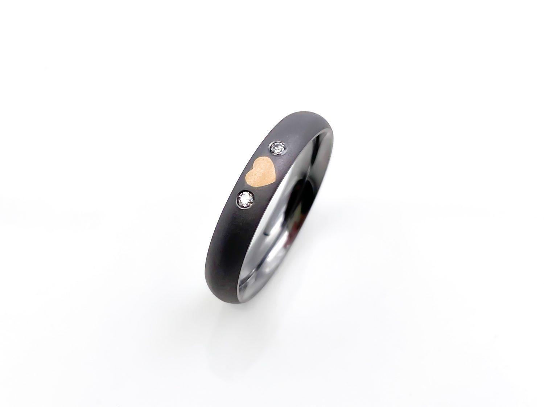 Tantal Ring mit Roségold Herz Ladies Collection No.29