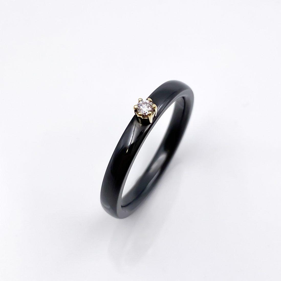 Tantal Ring mit 585er Gelbgoldfassung Ladies Collection No.26
