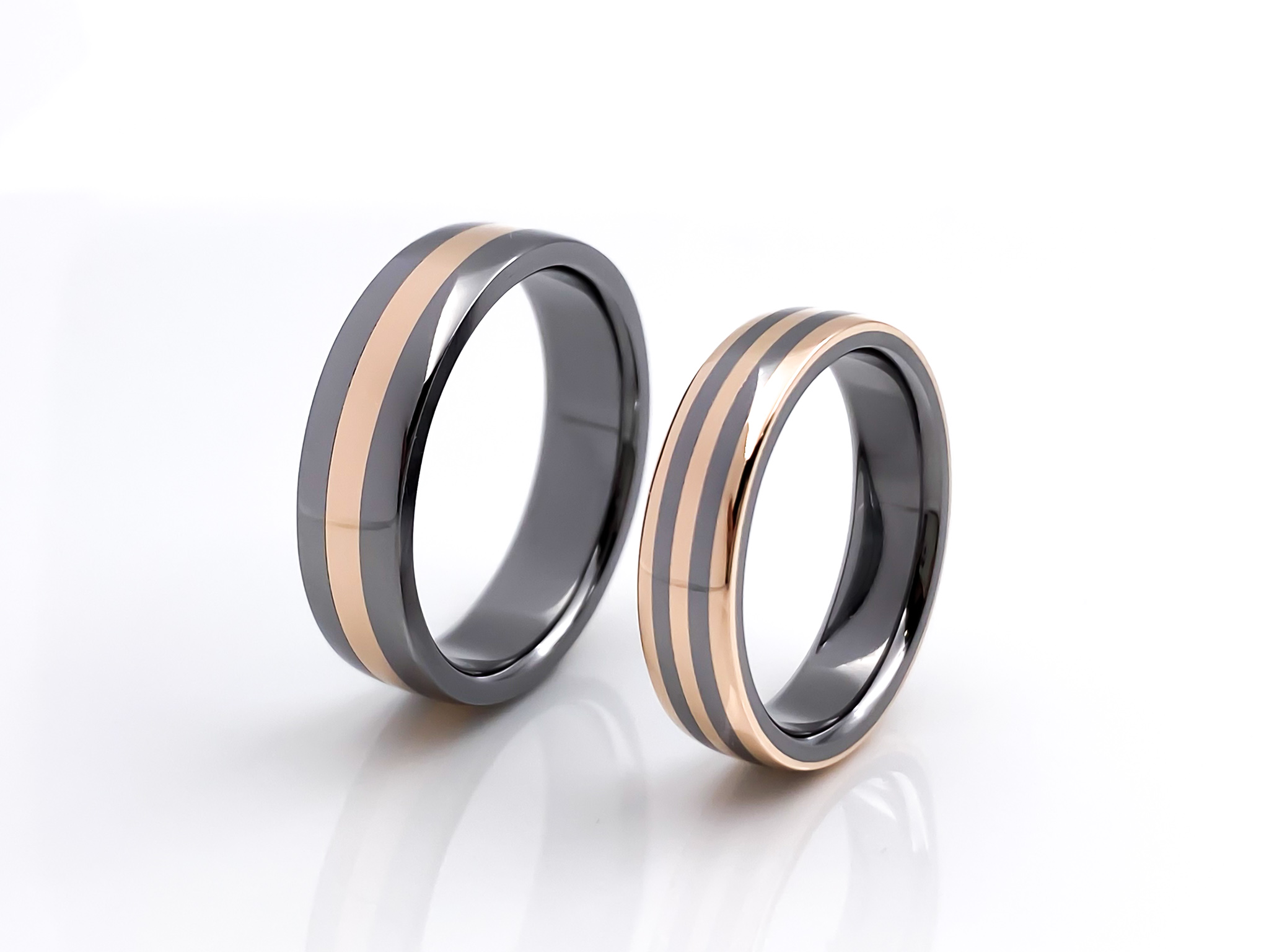 Tantal-Ringpaar mit 585er Rotgold True Love Collection No.53